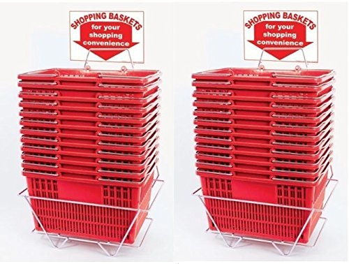 Red Shopping Baskets (Set of 24 with 2 Stands and Sign) Durable Red Plastic with Metal Handles by Only Garment Racks (Image #1)