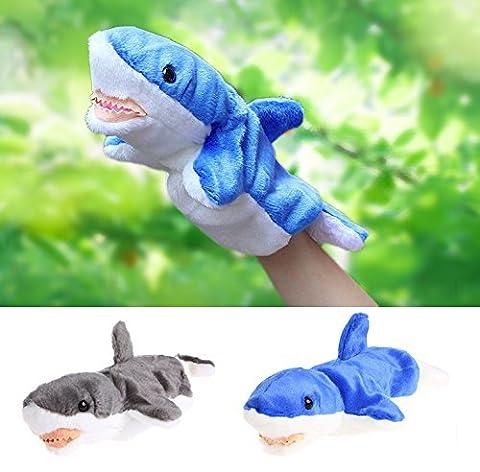 Delight eShop Hand Finger Puppet Toys Cartoon Animal Plush Shark Doll Gift For Baby Kids (Blue) - Horse Puppet Kit