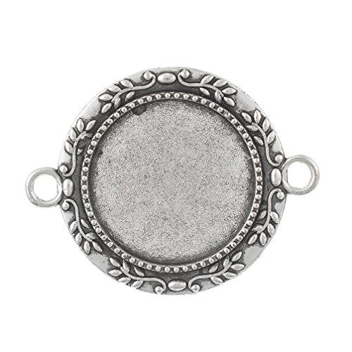 Round Leaf Pendant (Souarts Antique Silver Color Round Leaf Tray Pendant Cameo Cabochon Frame Settings Pack of 5pcs)