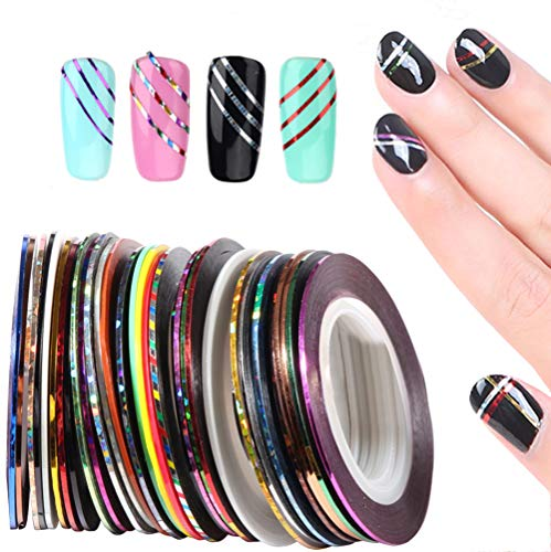 3Sets Multicolor Self-adhesive Dazzle Tapes Shining Thin Line Ropes Shimmer Strings Nail Art Decoration Accessories for Salon Mainciure Pedicure ()