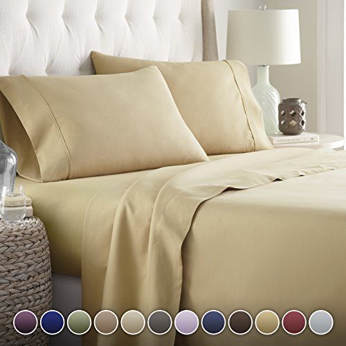 Hotel Luxury Bed Sheets Set-SALE TODAY ONLY! #1 Rated On Amazon..Ultra Silky Softest Bed Sheets 1800 Series Platinum Collection- Top Quality Linens with 100% Money Back Guarantee!! Vibrant Colors, Wrinkle & Fade Resistant Bedding Sheets..The Ultimate in Comfort..(Queen, Camel) -