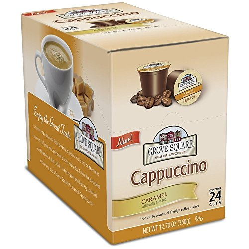 Grove Square Cappuccino Cups, Caramel, Single Serve Cup for Keurig K-Cup Brewers, 48 Count (Packaging May Vary) (Grove Square Cappuccino K Cups)
