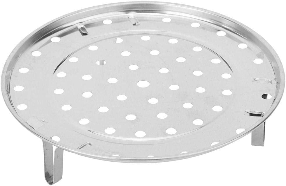 TOPINCN Stainless Steel Steam Holder Steam Rack Round Steaming Tray Insert for Pots, Pans, Crock Pots with Supporting Feet -Silver(L)