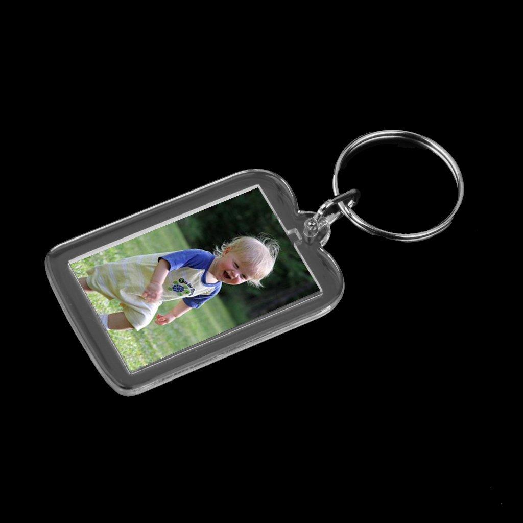 Baoblaze 10x Key Chain with Clear Photo Frame can DIY Personality Key Chain-3.8x2.5cm