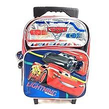 "Disney Pixar Cars 3 Boys 12"" Small School Rolling Backpack - Lightning Mcqueen"