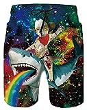 Galaxy Swimming Trunks for Men Animal Graphic Cat Shark Red Yellow Green Blue Orange Rainbow Long...