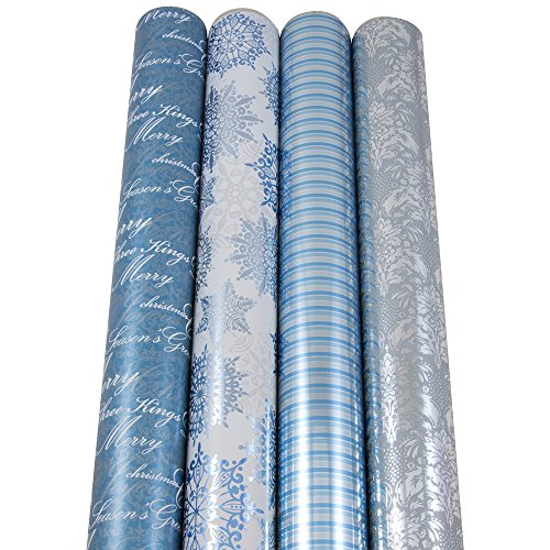 JAM Paper® Christmas Design Wrapping Paper - Christmas Snowdream - 180 Sq Ft. - 4/pack