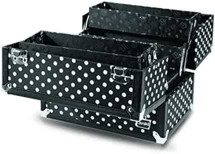 Caboodles Charmed 4 Tray Train Case with White Polka Dots, Black, 3.63 Pound