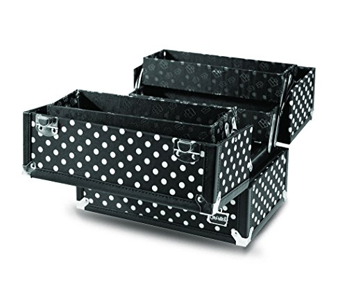 Caboodles Charmed 4 Tray Train Case with White Polka Dots, Black, 3.63 (Dots Train Case)