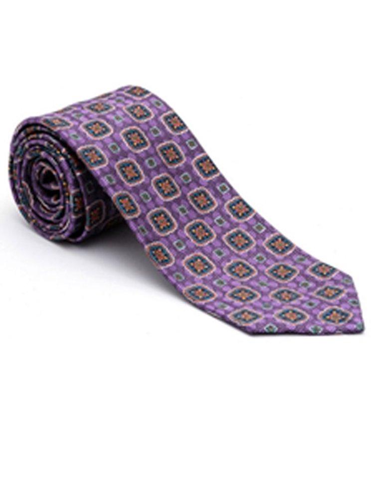 Robert Talbott Purple with Medallion Yarn-Dyed Overprint Seven Fold Tie