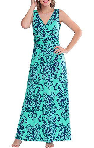 569ae379a714 Zattcas Womens V Neck Sleeveless Maxi Dress Casual Empire Floral Maxi Dress  (Small, Green