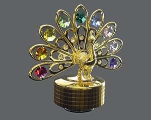 24k Gold-Plated Swarovski Crystal Figurine - Peacock (Multi-Colored Crystals)