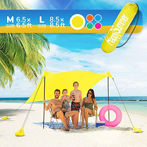 HappySummer Beach Tent sandbag Anchors—The Portable, Lightweight, 100% Lycra SunShelter UV Protection. The Perfect Sunshade Canopy The Entire Family (Yellow, Medium) ()