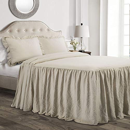 Lush Decor Lush Décor Ruffle Skirt Bedspread Neutral Shabby Chic Farmhouse Style Lightweight 3 Piece Set King,