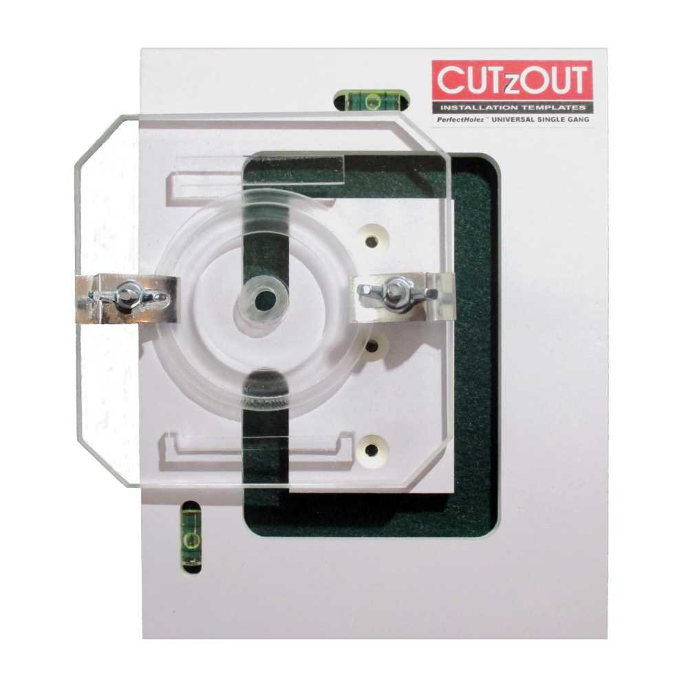 CUTzOUT PerfectHolez Single Gang New & Old Work Electrical Box and Low Voltage Box & Bracket Drywall Hole Cutter Template with Attachment for Spiral Saws, Cut Out, and Rotary Tools