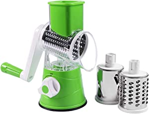 Multifunctional Rotary Slicer, Easy to Clean Vegetable Slicer with 3 Drum Blades, Rotary Cheese Grater Kitchen Gadgets Multi-Function