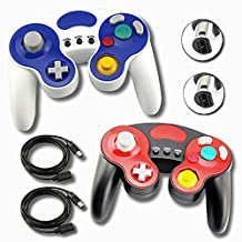 2 Controllers for GameCube Wii Black and White Bundle with 2 extension