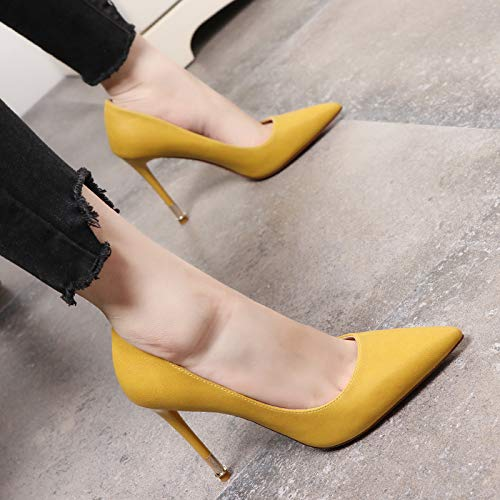 Yukun zapatos de tacón alto Nightclub Shoes Spring and Autumn Pointed Shoes Stiletto Heels Temperament Single Shoes Female Gun Color, 38, Champagne Yellow