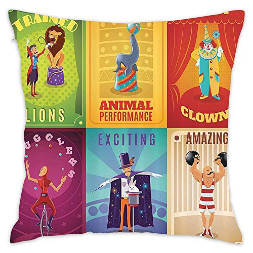 Circus Circus Characters with Trained Animals The Strong Man Trapeze Artist Retro Show Design Decorative Pillow Cover Sofa Waist Pillowcase Cushion Home Decor Cushion Square Pillowcase 18 * 18 -