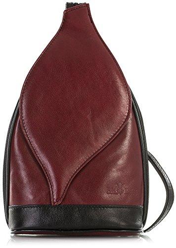 Duffle Deep Small Rucksack Backpack Liatalia Shoulder Real Black Kim Bag Red Leather Womens Italian YxxPpaq