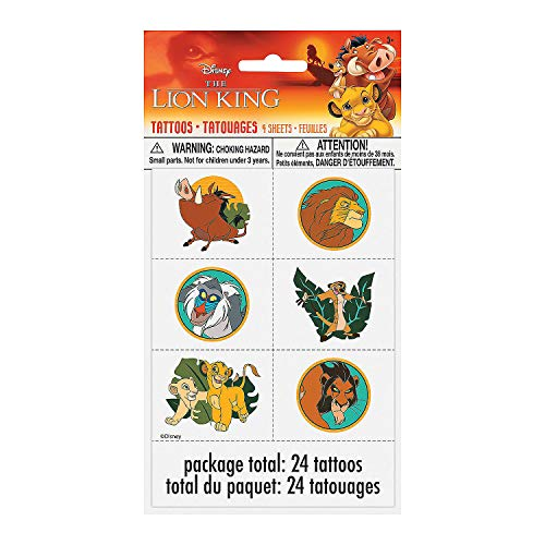 Fun Express - Lion King Tattoos for Birthday - Party Supplies - Licensed Tableware - Misc Licensed Tableware - Birthday - 24 Pieces