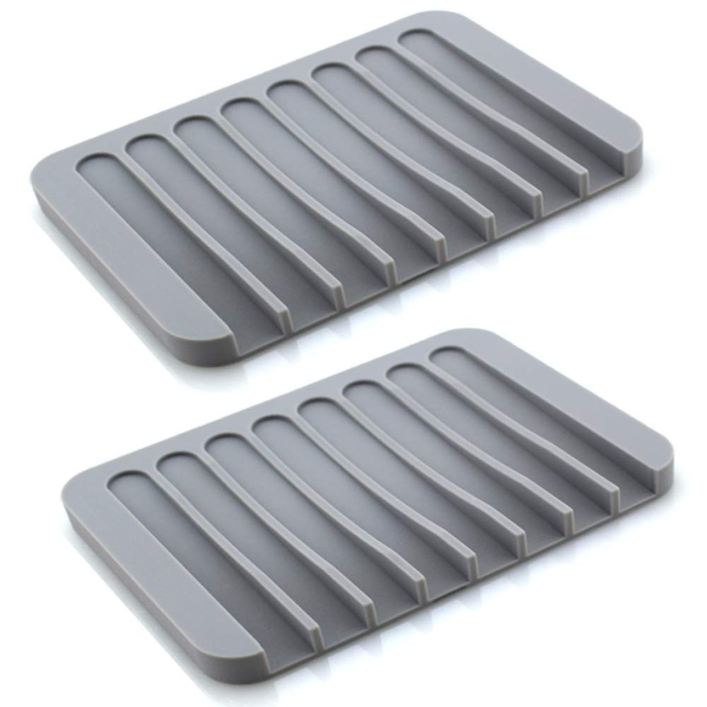 Luckyiren Soap Dish Holder Stand Saver Tray Case for Shower-Silicone Rubber Drainer Dishes for Bar Soap Sponge Scrubber Bathroom Kitchen Sink-Dishwasher Safe-Drains Water,Extends Soap Life,Gray,2 Pack