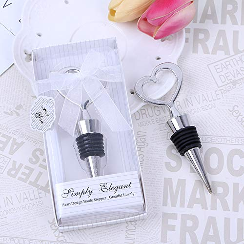 24PCS Wedding Favor for Guests,Matal Alloy Heart Wine Bottle Stopper Champagne Saver with Gift Box for Party Souvenirs Gift Supplies Decoration by WeddParty (Pack of 24 Silver Heart)