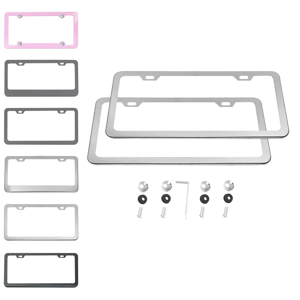 Pink Red 4 Holes Ibetter 2 Pack Premium UV Resistant License Plate Frame Slim Style Aluminum Metal Cute License Plate Holder Cover Pink Red for Women and Men