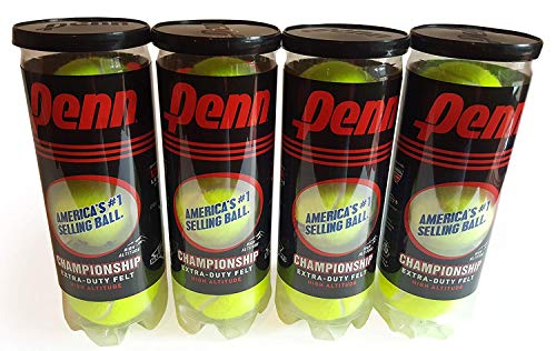 Penn High Altitude Tennis Balls Championship – 4-Pack 12 Balls Yellow - USTA & ITF Approved - Official Ball of The United States Tennis Association Leagues - Natural Rubber for consistent Play