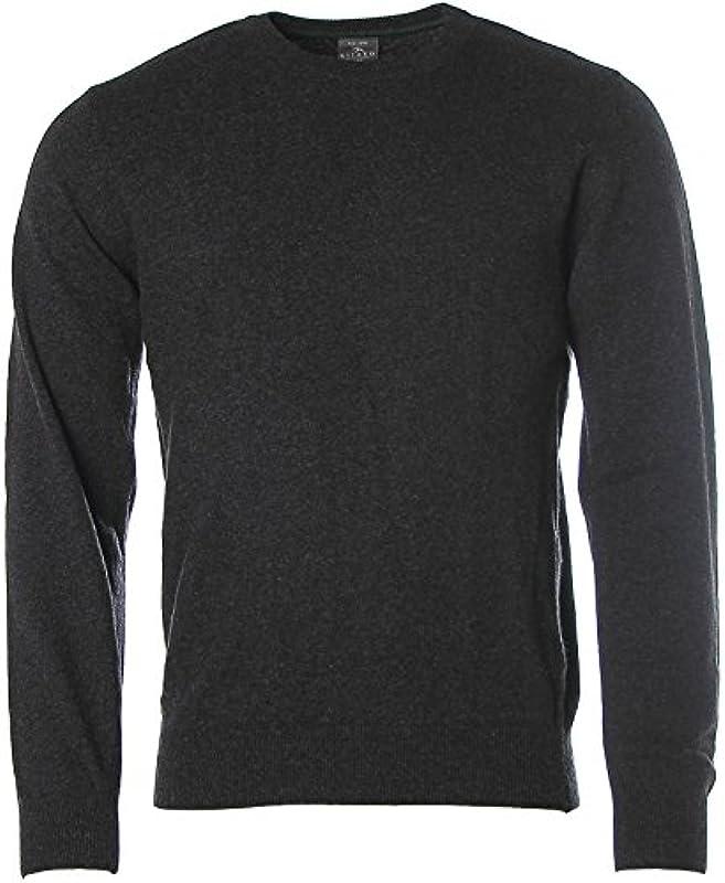 Sweter męski kitaro wełna do robienia na drutach okrągłe wycięcie pod szyją - m: Odzież