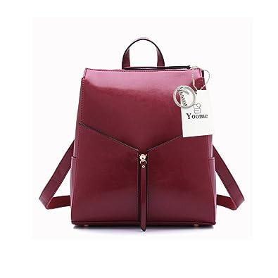 5b05b0f34 Amazon.com: Yoome Leather Backpack Hand Bag Japanese and Korea Styles  Shoulder Bag Women Backpack Travel Bag Burgundy: yoome