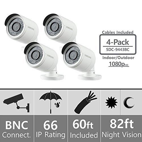 (Set of 4) Samsung SDC-9443BC 1080p HD Weatherproof Bullet Camera (Compatible with SDH-B74041 & SDH-B74081)