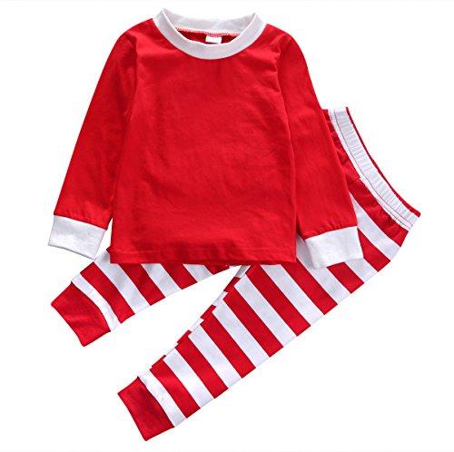 (Charm Kingdom Little Boys Girls Long Sleeve Top and Stripe Pants Christmas Pajamas Sets (Red, 90 (2-3)