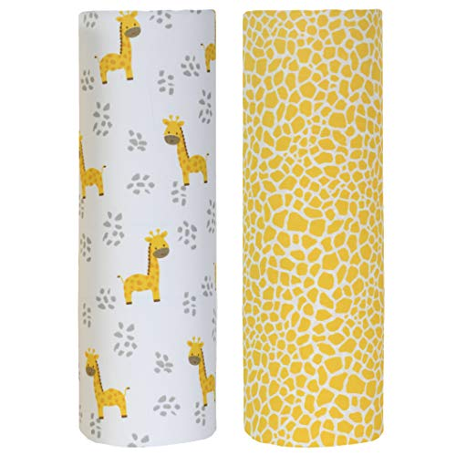 (Cuddles & Cribs 2 Pack GOTS Certified Organic Cotton Fitted Crib Sheet - Giraffe & Pattern)