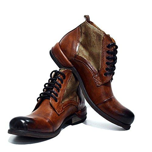 PeppeShoes Modello Oreto - Cuero Italiano Hecho A Mano Hombre Piel Marrón Botas Bajas Botines - Cuero Cuero Pintado a Mano - Encaje