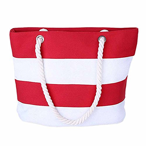 Inner Women Bag Canvas ZhengYue Stitching with Beach Red Handbag Shoulder Handles Tote Rope Simple Canvas Design Shopping Bag Stripes School Zipper Pocket Color with YHqdq5w