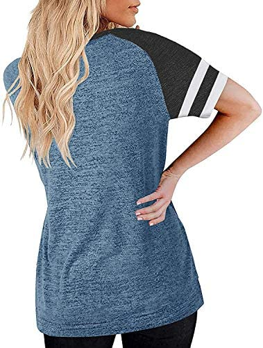 Remikstyt Womens Summer Tunic T Shirts Short Sleeve Color Block Striped Casual Loose Tops