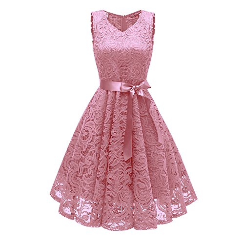 ♡QueenBB♡ Women Floral Lace Bridesmaid Party Dress Short Prom Dress V Neck Cocktail Party Dresses - Sports Wallet Rawlings Accessories