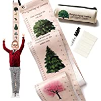 Growth Chart for Kids - Height Measurement Ruler from Baby to Adult. Ideal Wall Decor in Kids Room, Playroom or Nursery. Birthday and Baby Shower Gift for Boys and Girls. Hand Painted Nature Theme
