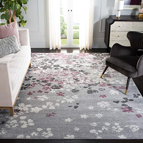 Safavieh Adirondack Collection ADR115M Light Grey and Purple Contemporary Floral Area Rug (5'1