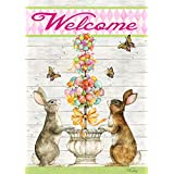 "Toland Home Garden 1012295 Easter Bunny Topiary 28 x 40 Inch Decorative, (28"" x 40""), Double Sided House Flag"