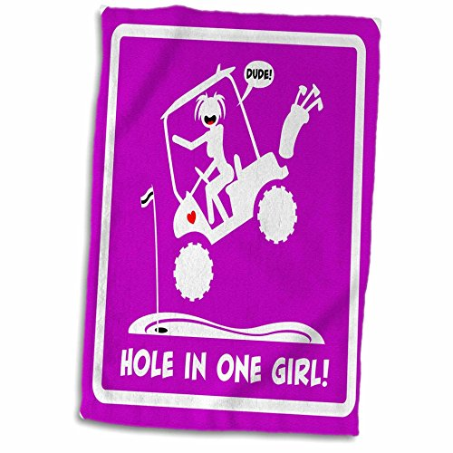 (3D Rose A Pink Sign of A Hole in One Being Made by A Stickgirl and Her Golf Cart Hand/Sports Towel, 15 x 22)