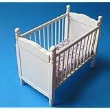 Puppenbett weiss mit Matratze Puppenhausmöbel Kinderzimmer Miniatur 1:12
