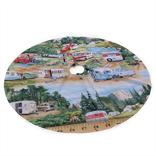 SUCBUOTREE Trailers Camping Campers Christmas Tree Skirt 48 inch Large Xmas Tree Skirts for Holiday Party Christmas Decorations