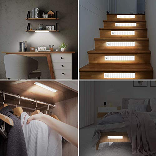 36 LED Closet Lights Motion Sensor, Under Cabinet Lighting Rechargeable Cordless Closet Light Motion Activated 3 Modes for Closet, Cupboard, Drawer, Stairwell, Kitchen (2-Pack)