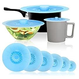 """New Professional Set! Silicone Suction Lids and Covers: Set of 6 Including EXCLUSIVE 12"""" Lid. Reusable. Oven, microwave, and dishwasher safe. 67 SET OF 6 - INCLUDING EXCLUSIVE 12"""" LID: A range of sizes to suit every mug, pot, pan, and bowl. Each set includes 5"""", 6"""", 7"""", 8"""", 10"""" lids, and our exclusive extra large 12"""" lid ideal for frying pans and larger pots and bowls. A great set of silicone lids and covers for cooking, for food, for pans. SAFE & EASY HANDLES: Because each lid has a large and secure easy grip handle they are safe and secure to use even on hot pans - much easier and safer than other designs. The lids are premium GRADE silicone that is FDA approved and BPA free EASY TO USE, EASY CLEAN, EASY STORE: Keep food fresh with with a silicone suction lid - simply place the lid on your pot or pan and push down to form a suction seal. They can be used in the oven, microwave, or on the hob and are heat proof up to 450f. Easy to wipe clean or put in the dishwasher. Easy to store to by stacking the lids - the unique design of these lids means the handles fit inside each other!"""