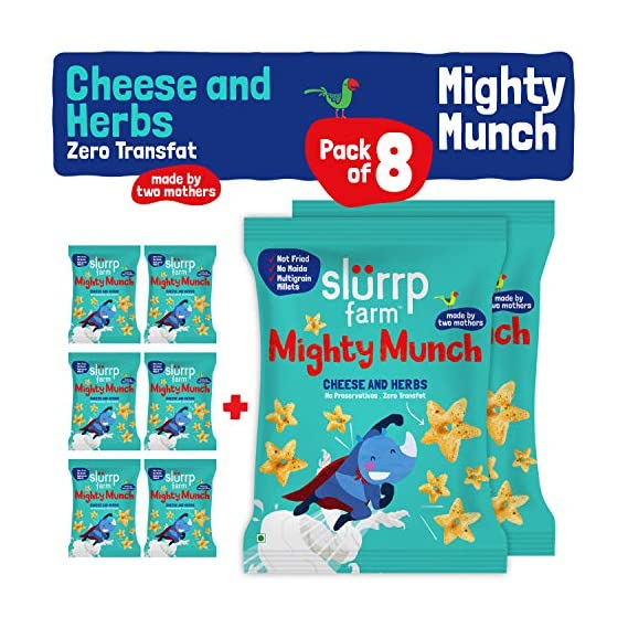 Slurrp Farm Tasty Mighty Munch, Cheese And Herbs, Healthy Snack For Kids, 20g (Pack Of 8)