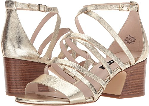 Nine West Women's Youlo Strappy Block Heel Sandal Light Gold Metallic 5.5 M US for $<!--$40.05-->