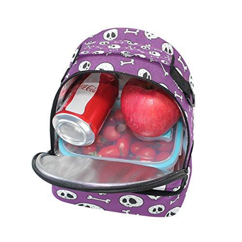 con calavera el pincnic para de hombro escuela FOLPPLY la para aislante de Bolsa almuerzo correa con de ajustable TxqP0HY