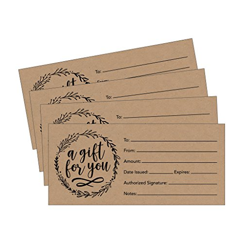 Why should you order your own blank gift certificate voucher cards?       · Durable - Printed on Premium Cardstock   · Easy to write on   · One of a kind design   · Generous 4 x 9 size allows you plenty of room to fill in the details about the cert...